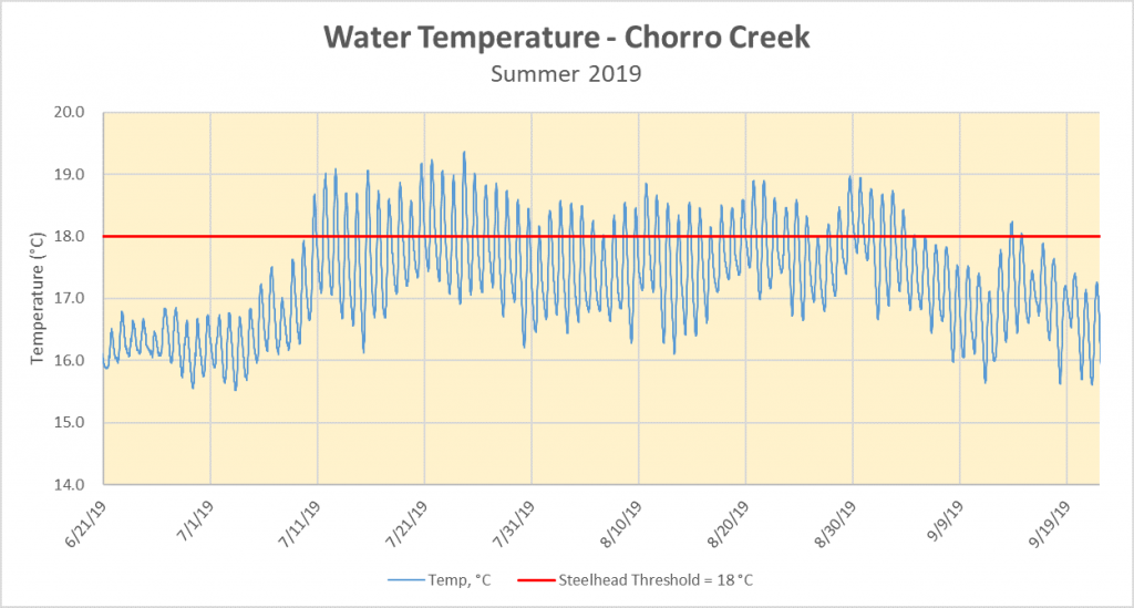 Water temperature data from the summer of 2019