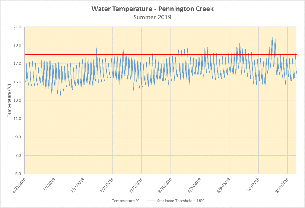 Continuous water temperature data from Pennington Creek during summer 2019