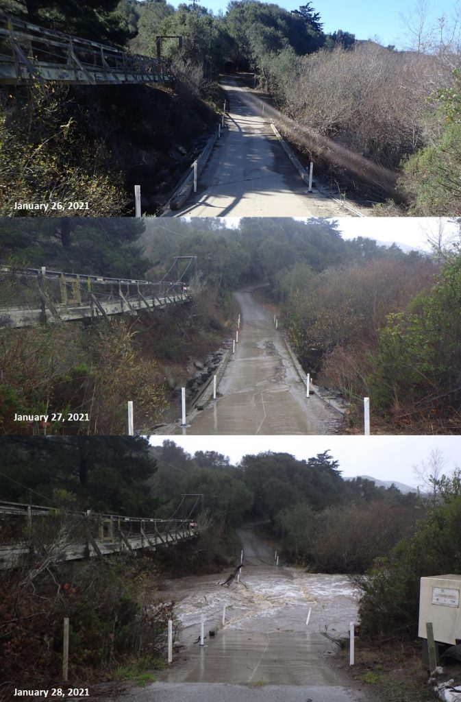 These photographs show the change in water levels and flow at Canet Road between January 26th and 28th, 2021.
