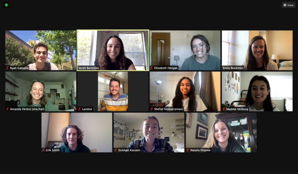Dr. Bockmon's group during a Zoom lab meeting during spring quarter 2021. Photo courtesy of Sarah Bartoloni.