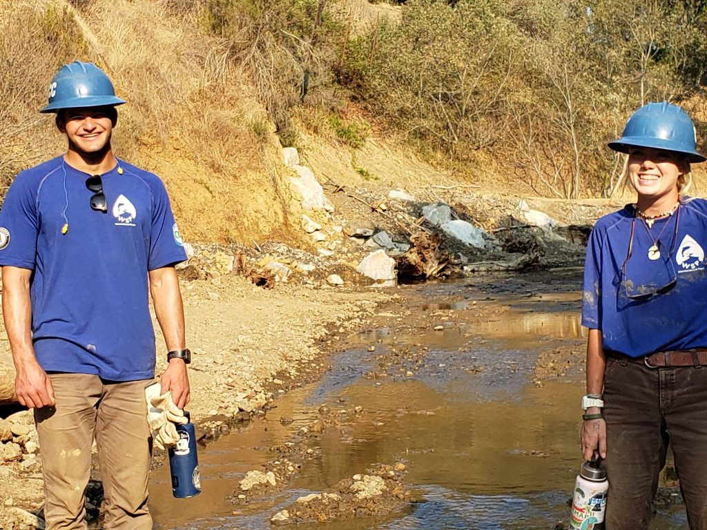 Ryan and Natt on site with the California Conservation Corps at a restoration project on Santa Rosa Creek.